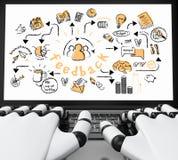 illustration 3d Robotic händer som skriver på en bärbar dator med affär vektor illustrationer