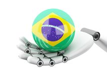 illustration 3d Robotic hand som rymmer den Brasilien flaggasymbolen royaltyfri illustrationer