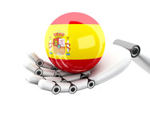 illustration 3d Robotic hand som rymmer den Spanien flaggasymbolen vektor illustrationer