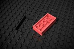 Illustration 3d: Rot, das verschiedene Spielwaren Lügen separat auf einem schwarzen Hintergrund ausbessern, wird nicht in die Nut Stockbild