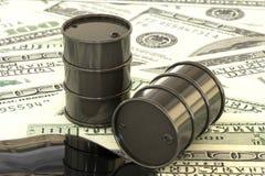 Illustration 3d: Schwarze Barrel Erdöle liegen auf dem Hintergrund des Dollargeldes Erdölgeschäft, schwarzes Gold, Benzinprodukti Stockbilder