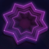 Illustration with 3d shiny purple neon star. And place for text Royalty Free Stock Image