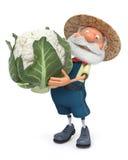 illustration 3D som den äldre bonden kostar med kål i open Arkivbild