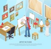 Illustration d'In Studio Isometric d'artiste Photo stock