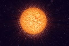 Illustration 3D Sun-Schwerkraft verbiegt Raum um sie mit bokeh Effekt Konzeptschwerkraft verformt Raumzeitgitter herum lizenzfreie abbildung