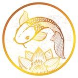 Illustration d'or tirée par la main de poissons de koi d'encre Images libres de droits