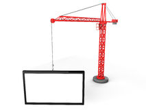 3d tower crane with empty boards Stock Photography