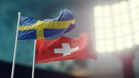 illustration 3d Två nationsflaggor som vinkar på vind Nattstadion Mästerskap 2018 fotboll Sverige kontra Schweiz Royaltyfri Foto