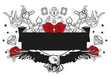 Illustration d'un aigle entouré par les ancres roses et d'autres éléments de vecteur Image libre de droits