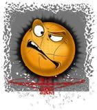 Illustration d'un basket-ball de sourire dans le panier Dessin d'impression Photographie stock libre de droits