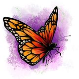 Illustration d'un beau papillon coloré qui vole illustration stock