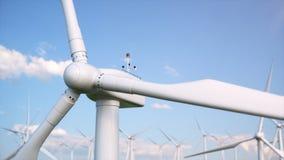 illustration 3d d'un beau, passionnant ciel bleu sur un fond des turbines de vent Énergie nette écologique illustration de vecteur