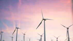 illustration 3d d'un beau, spectaculaire coucher du soleil sur un fond des turbines de vent Énergie nette écologique Photos libres de droits