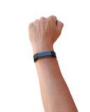 Illustration d'un bras du ` s de femme dans le ciel avec le poing utilisant un dispositif intelligent Images libres de droits