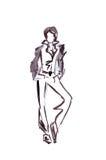 Illustration d'un bureau femelle dans le pantsuit strict Images libres de droits