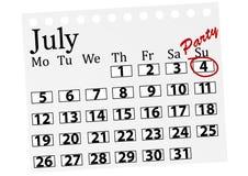 Illustration d'un calendrier avec le 4 juillet marqué Photos stock