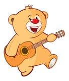 Illustration d'un caractère bourré de Toy Bear Cub Guitarist Cartoon Images libres de droits