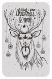 Illustration d'un cerf commun avec des décorations et la citation de Noël Image libre de droits