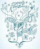 Illustration d'un cerf commun de Noël Photos libres de droits