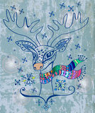 Illustration d'un cerf commun de Noël Photos stock