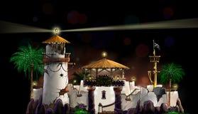Illustration d'un château avec le phare Photos stock