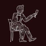 Illustration d'un champagne potable d'homme d'un verre Photographie stock libre de droits