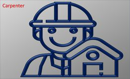 Illustration d'un charpentier bleu illustration stock