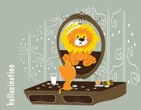 Illustration d'un chat ayant des hallucinations pour être un lion Photos stock