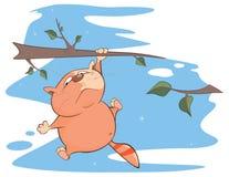 Illustration d'un chat mignon le chef heureux de crabots mignons effrontés de personnage de dessin animé de fond a isolé le blanc Images stock