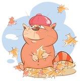 Illustration d'un chat mignon le chef heureux de crabots mignons effrontés de personnage de dessin animé de fond a isolé le blanc Images libres de droits