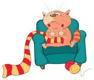 Illustration d'un chat mignon le chef heureux de crabots mignons effrontés de personnage de dessin animé de fond a isolé le blanc Photos stock