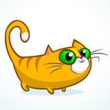 Illustration d'un chat rayé orange avec de grands yeux se reposant et souriant Logo mignon de vecteur de minou Photos libres de droits