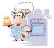 Illustration d'un chef gastronomique Cow le chef heureux de crabots mignons effrontés de personnage de dessin animé de fond a iso Photo stock