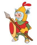 Illustration d'un chevalier Devil le chef heureux de crabots mignons effrontés de personnage de dessin animé de fond a isolé le b Images stock