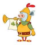 Illustration d'un chevalier Devil le chef heureux de crabots mignons effrontés de personnage de dessin animé de fond a isolé le b Image libre de droits