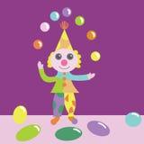 Illustration d'un clown jonglant avec des boules Photos libres de droits