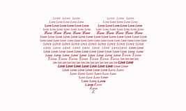 Illustration d'un coeur rempli d'amour de mot rouge et blanc images stock