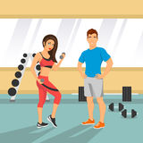 Illustration d'un couple d'ajustement dans un gymnase illustration stock