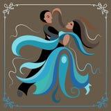 Illustration d'un couple dansant la valse 3 ocre Photographie stock