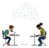 Illustration d'un employé de bureau montrant l'écran de comprimé pour des applications de présentation Image libre de droits