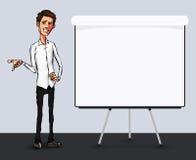 Illustration d'un employé de bureau montrant l'écran de comprimé pour des applications de présentation Images libres de droits