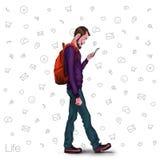Illustration d'un employé de bureau montrant l'écran de comprimé pour des applications de présentation Images stock