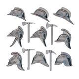illustration 3D Un ensemble de casques et de haches du feu d'argent de vintage D'isolement illustration de vecteur