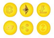 Illustration d'un ensemble de six cryptocurrencies différents illustration stock
