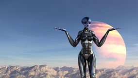 Illustration d'un extraterrestre portant une position de combinaison spatiale sur un sommet de montagne faisant un Qu'est ce que  illustration stock