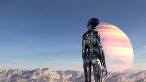 Illustration d'un extraterrestre portant une position de combinaison spatiale sur un sommet de montagne regardant autour sur une  illustration stock