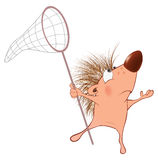 Illustration d'un hérisson mignon le chef heureux de crabots mignons effrontés de personnage de dessin animé de fond a isolé le b Images stock