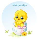 Illustration d'un jeune poulet dans l'arc de rose d'oeufs Image stock