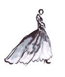 Illustration d'un modèle femelle avec le beau cou dans une robe de boule avec un train Photos libres de droits