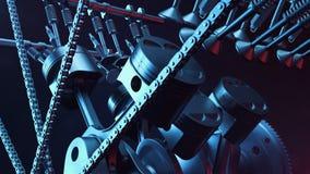 illustration 3d d'un moteur à combustion interne Pièces de moteur, vilebrequin, pistons, système d'approvisionnement en combustib Photo stock